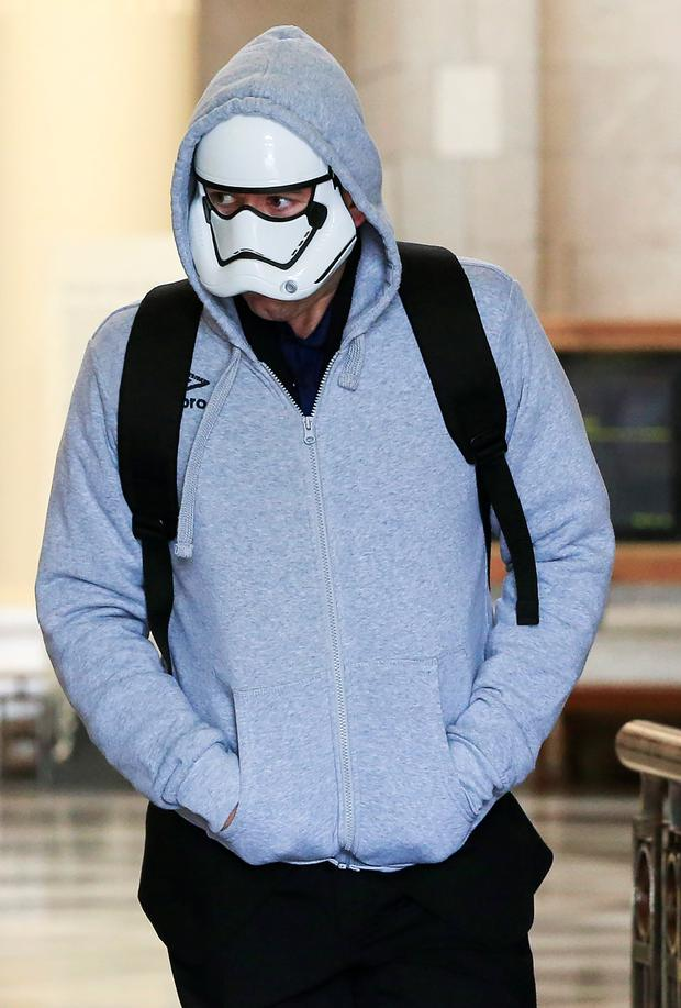 Boyne donned a Star Wars mask under a hooded jacket as he ran from the Four Courts following the decision