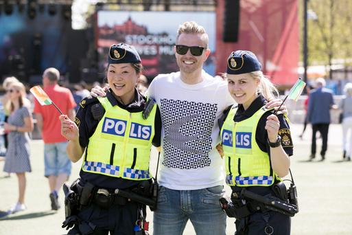 Repro Free: Irish Eurovision entry Nicky Byrne pictured enjoying the sunshine and fun around Stockholm during the runup to the Eurovision second semi final this Thursday. Picture Andres Poveda