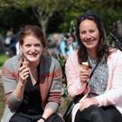 Jasmin Schous, left, and Marly Lampe, from the Netherlands, enjoying the sunshine