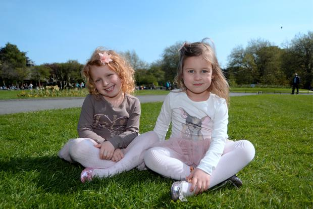 Twin sisters Antonia Wilkowska, left, and Amelia, 4, from Crumlin
