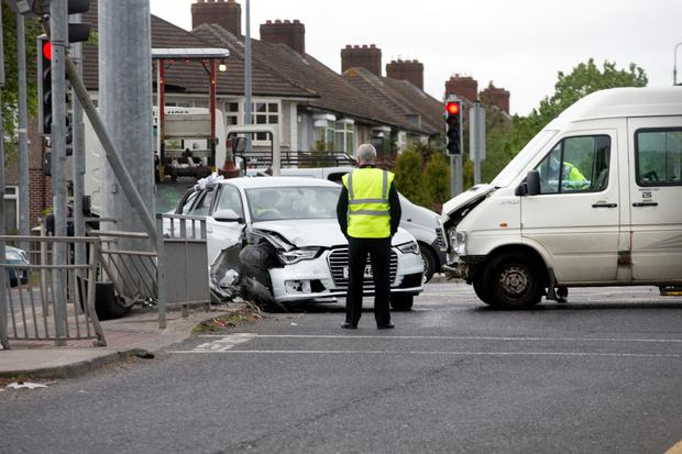 The scene of a collision between a car and a mini-bus at Whitehall which caused major traffic disruption (Photo: Tony Gavin)