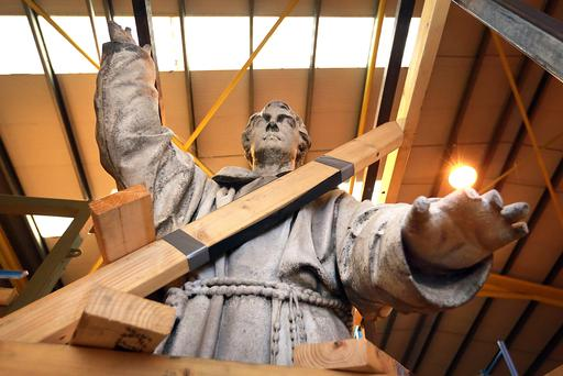 Statue of Father Matthew needs new fingers.