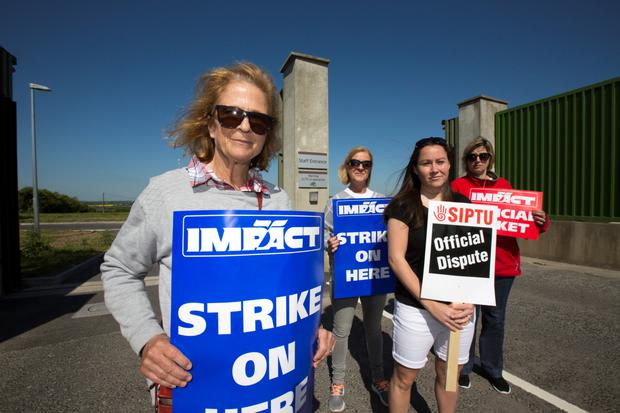 Staff on the picket line at Oberstown young offenders centre (Picture: Mark Condren)