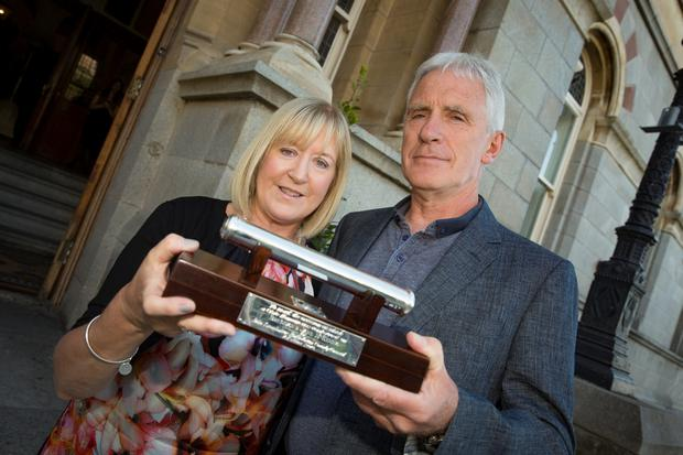 Founders of the LauraLynn children's hospice Jane and Brendan McKenna with their award in Dun Laoghaire (Arthur Carron Photography)