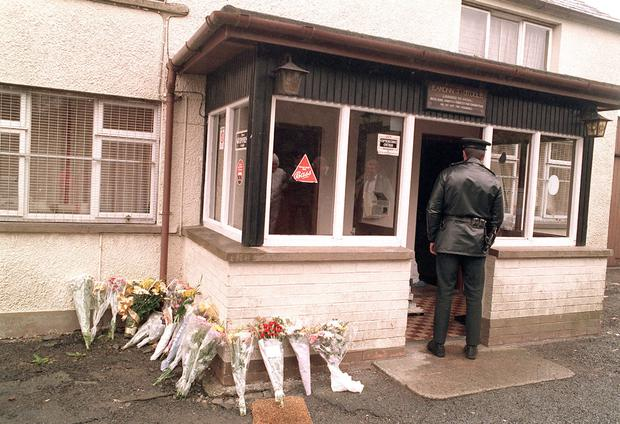 The scene outside the Heights Bar after the 1994 massacre