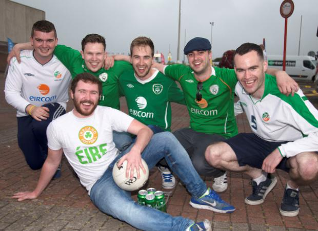 Irish fans David Ward, Dougal Farren, Ross O'Flaherty, Ryan Marshall, Jack Moloney and Mark Fallon at Rosslaire yesterday