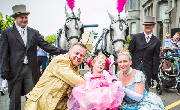 Evie Lawlor (6) was the belle of the ball as she arrived as a princess at her castle