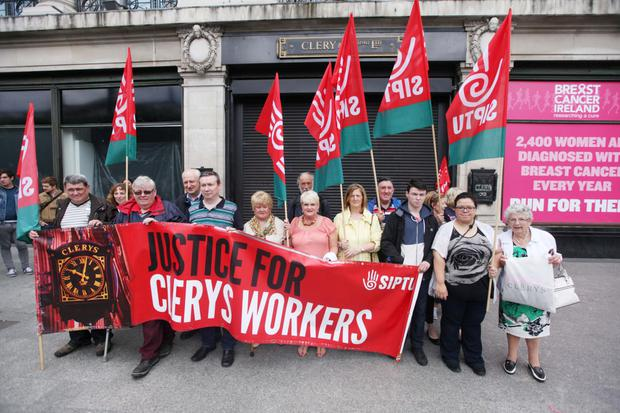 Clerys workers hold 'Time for Justice' rally marking one year since store's closure