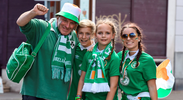 Republic of Ireland supporters, from left, Charlie McCormick, Liam McCormick, Marsha McCormick and Fiiona McCormick, from Clonskeagh, Co Dublin
