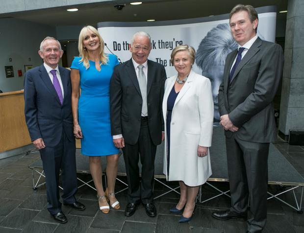 INM Chairman Lesley Buckley, Miriam O'Callaghan, Jimmy Guerin, Tanaiste Frances Fitzgerald and INM Editor-in-Chief Stephen Rea at the Veronica Guerin Anniversary in the Chester Beatty Library Picture: Kyran O'Brien