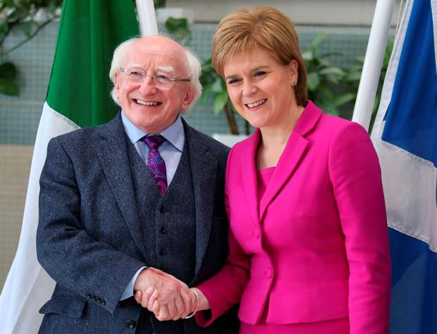 Scotland's First Minister Nicola Sturgeon meeting the President Michael D Higgins in Glasgow Photo: PA