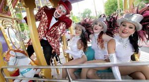 Joe Conlon (Joey the Clown), Fossett's Circus ringmaster, with showgirls Becky Shaw and Sarah Fossett Picture: Photocall