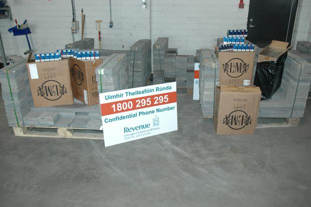 Cartons of cigarettes hidden inside pallets of paving bricks