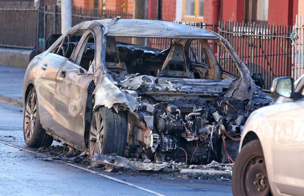 The burned out Mercedes Gardai suspect was used as a getaway vehicle in Spitalfields in the South Liberties following a gun attack on Bridgefoot Street