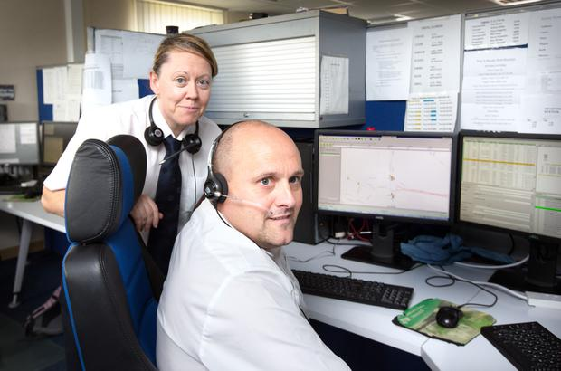Dublin bus controllers Ingrid Doyle and Mark Drew at the Broadstone Depot where the lucky euromillions winners are working. Photo: Tony Gavin