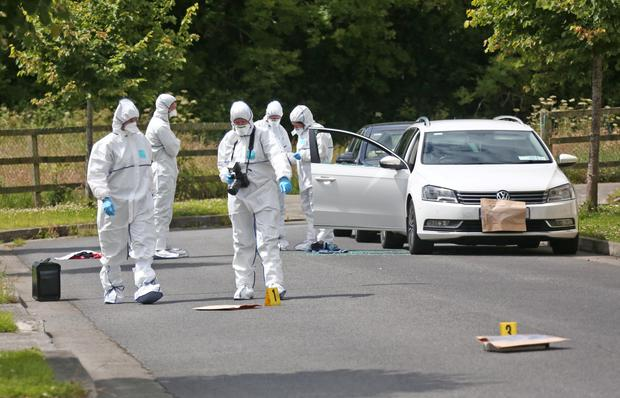 Garda forensics examine the scene of the shooting in Dun Emer estate Lusk on Tuesday Picture: Collins