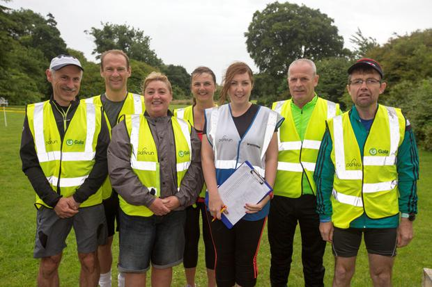 Volunteers Yannick Chevalier, Peter Evans, Elaine Greensit, Collette Evans, Evelyn Wilde, Eugene Coppinger and Seamus Rooney at the Donabate Parkrun Picture: Mark Condren