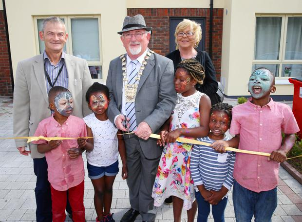 Mayor Guss O'Connell with Respond chief Ned Brennan (left), councillor Ruth Nolan and some of the young residents of Moy Glas Glade in Lucan Picture: Marc O'Sullivan