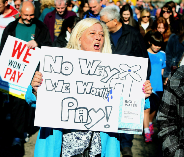 Anti-water charge protesters take to the streets of Dublin Photo: Brian Lawless/PA Wire