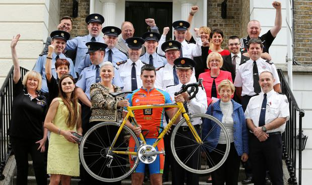 Garda Tour de Force Charity Cycle in aid of Pieta House. Pictured at the launch (centre) Romanian Ambassador to Ireland Manuela Breazu, Garda Sean Trowell and Deputy Garda Comm John Twomey