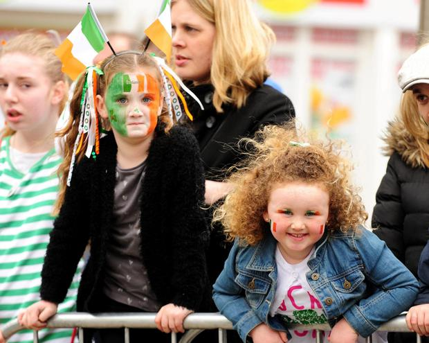 Zoe McDermott and Sophie Barrett at the St Patrick's Day Parade in Balbriggan.