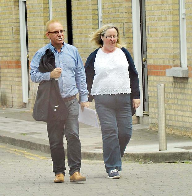 First pictures of Paul Kelly, former CEO of Console charity and his wife Patricia Kelly seen in town this afternoon,on their way to their solicitors office. Kelly seemed to be in good spirits since checking himself out of the psychiatric unit last week and walked with a big grin across his face. Photo: John Dardis