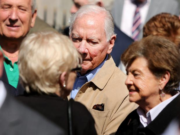 Gay Byrne was amongst the mourners at the funeral of his cousin, former Labour Court chairman Finbarr Flood.