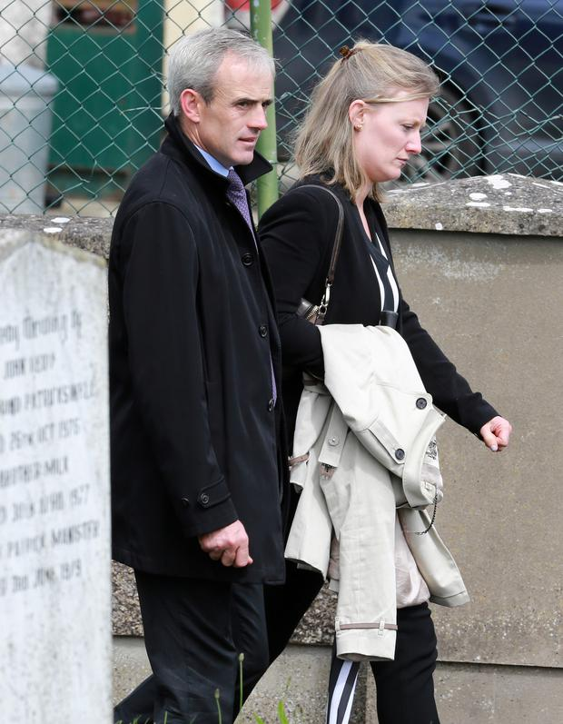Jockey Ruby Walsh pictured with his wife Gillian, after the funeral mass for jockey JT McNamara at St Michaels Church in Manister, near Croom, Co Limerick.