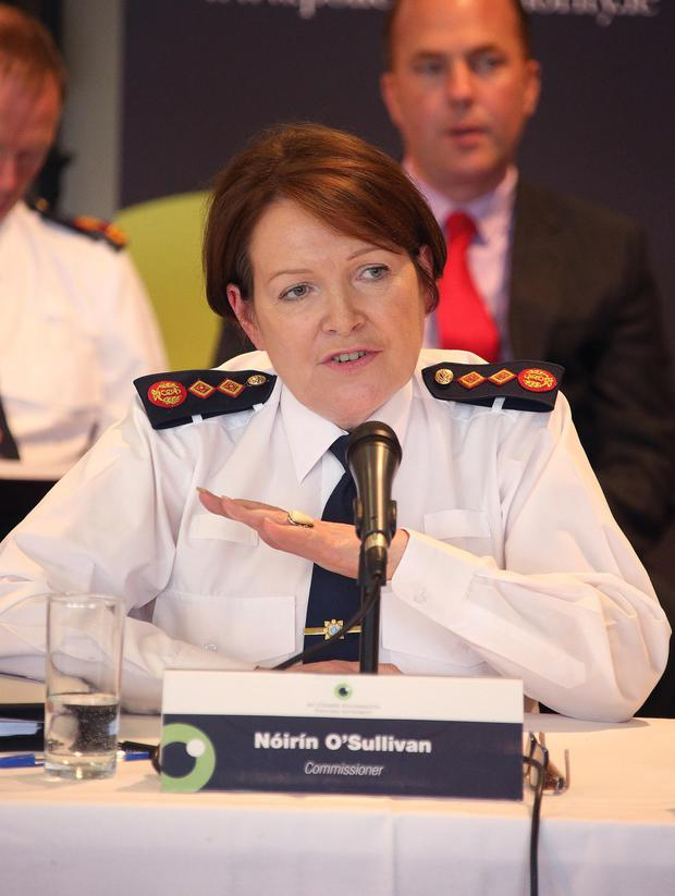 Garda Commissioner, Noirin O'Sullivan speaks as she appears before the Policing Authority at a public meeting at Griffith College, Dublin.