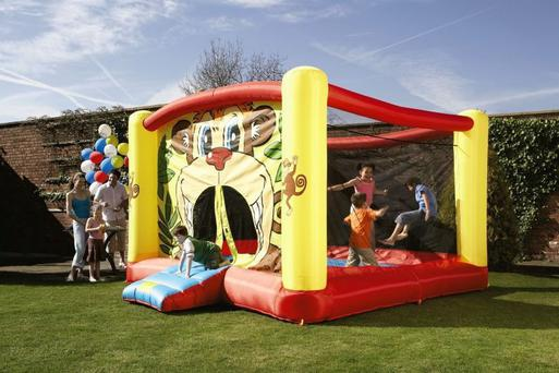 The bouncing castle came loose from its moorings.