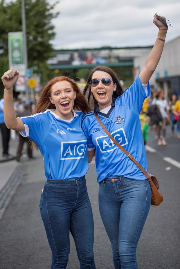 Caragh Dawson with her cousin Aine Dawson, going to see the clash between Dublin and Donegal Picture: Fergal Phillips