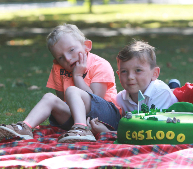 Tom O'Leary (5) with his brother Jack (7) from Dublin