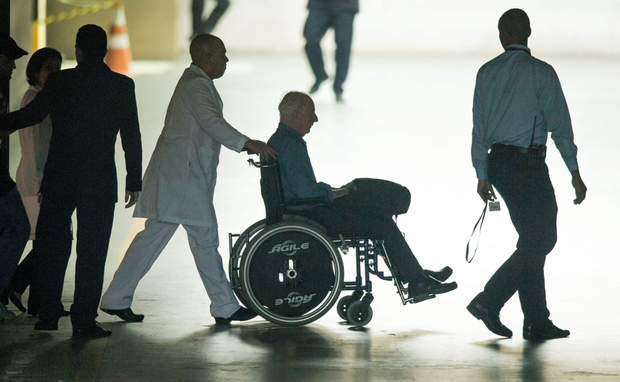Pat Hickey is wheeled from the Hospital Samaritano in Rio Picture: Sportsfile