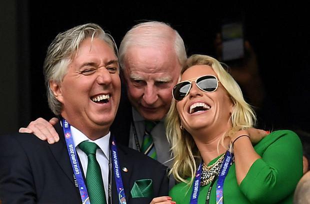 FAI chief executive and OCI vice president John Delaney and his partner Emma English with Pat Hickey at a rugby match in Paris. Photo: Sportsfile