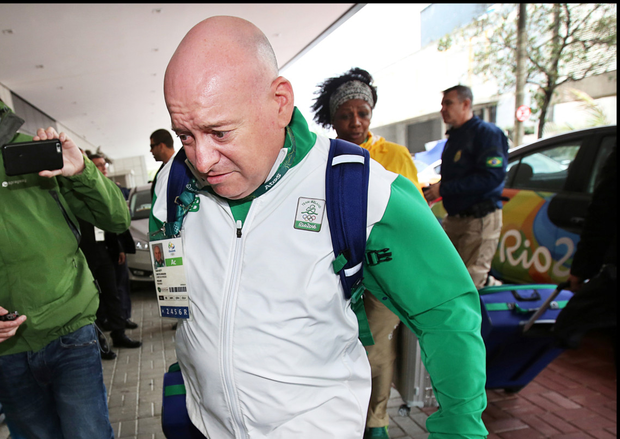 Chef de Mission Kevin Kilty arrives at a hotel in Rio after his passport was seized by police in Rio de Janeiro Picture: Steve Humphreys