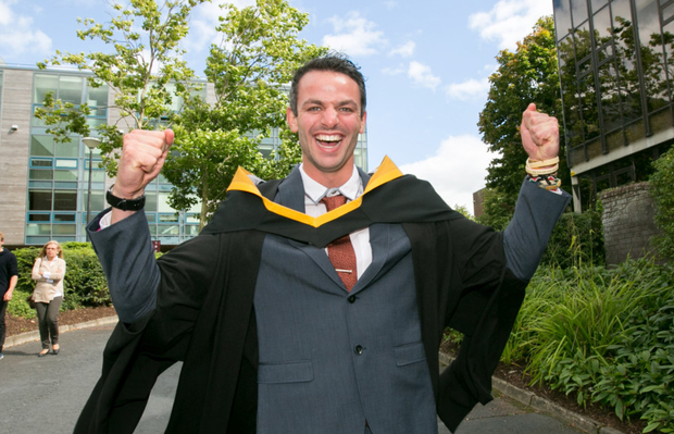 Thomas Barr celebrates graduating in Limerick Picture: Press 22