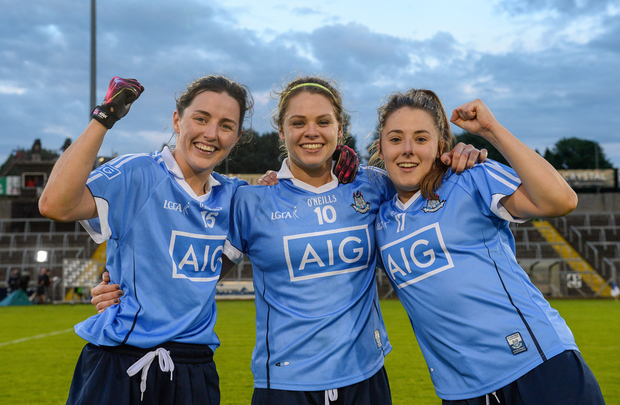 Dublin players, from left, Lyndsey Davey, Noelle Healy and Siobhán Woods celebrate after the TG4 Ladies Football All-Ireland Senior Championship Semi-Final game between Dublin and Mayo at Kingspan Breffni Park in Cavan. Photo: Piaras Ó Mí