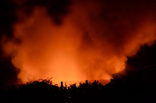 Oberstown in flames. Photo: Caroline Quinn