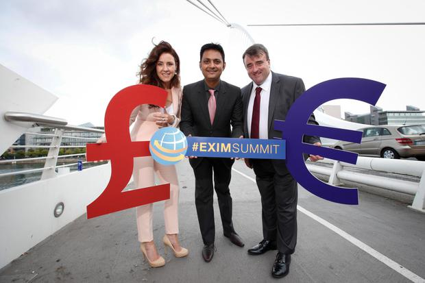 Pictured at the launch in Dublin were: Joanna Murphy, CEO of event sponsor Connect Ireland; Kapil Khanna, programme director, EXIM Summit, and Liam O'Sullivan, mails operation director of headline sponsor An Post Picture: Conor McCabe