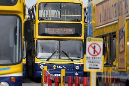 Dublin buses parked up at Broadstone Garage