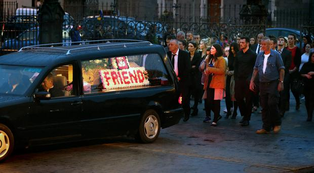 Mourners follow Nicola's coffin