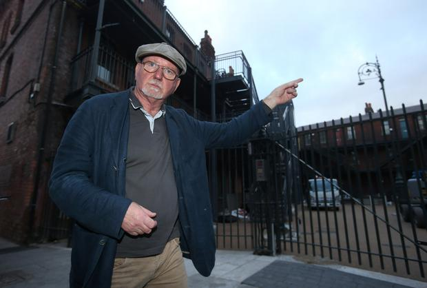 Leo Enright pictured near flats in the temple bar area of Dublin city centre
