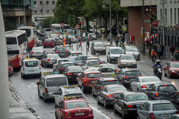 Heavy traffic around the Financial Services Centre yesterday Picture: Doug O'Connor