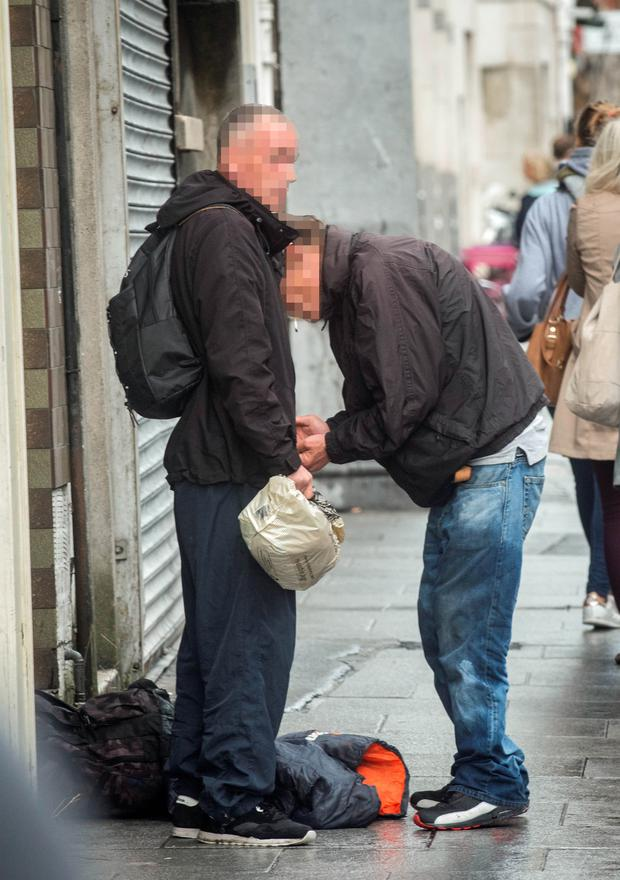 A drug addict on Abbey Street in the city
