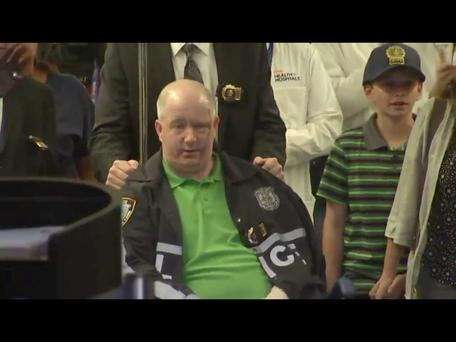 Brian O'Donnell (p) was applauded leaving the hospital after being treated