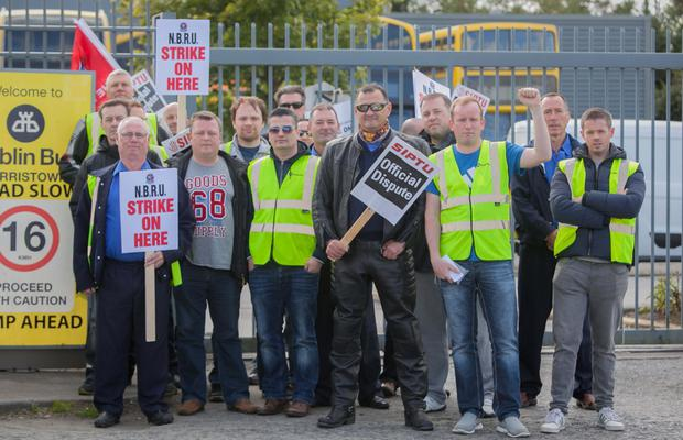 Dublin Bus staff striking outside Harristown Bus Depot, Dublin. Pic: Collins Dublin