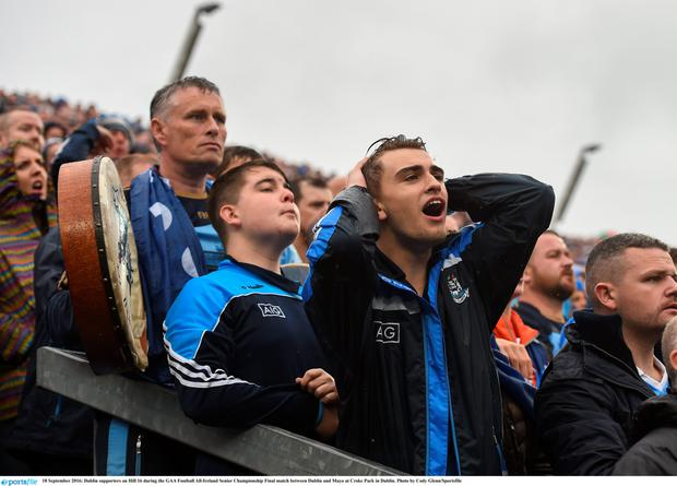 Fans on Hill 16 watch Sunday's nail-biting All-Ireland final