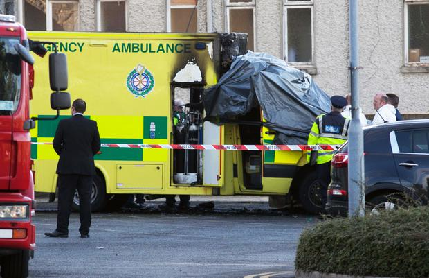 Members of the emergency services following an ambulance fire at Naas general Hospital, Kildare.