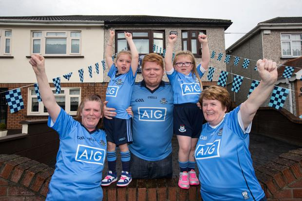 Four generations of the Langan family from Naomh Fionnbarra Gaa club, Cabra pictured ahead of the All-Ireland football final against Mayo. Pictures from left. Orla, Mollie Og (5) Shane, Lillie (5) and Eilish Langan.