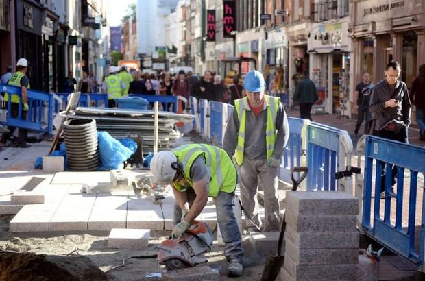 Work on the new pavement on Grafton Street in June 2014
